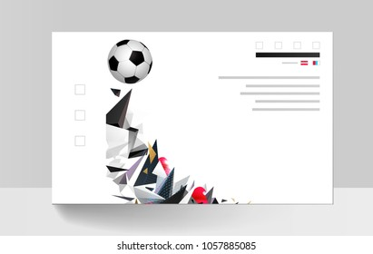 White and black soccer football with geometric abstract sport background.