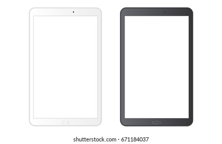 White and black tablet computer Samsung Galaxy Tab with blank screens isolated. Vector illustration