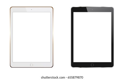 White and black tablet computers iPad with blank screens isolated. Mockups for showcase screenshots your web-site design. Vector illustration