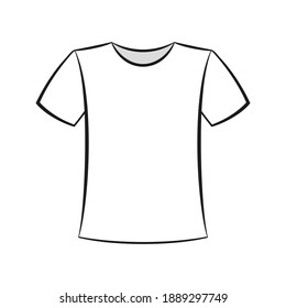 White black t-shirt front view flat vector illustration