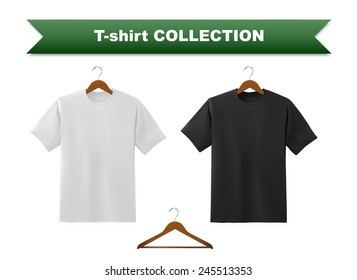 White and black t-shirt template with hanger, vector eps10 illustration.