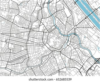 White and black vector city map of Vienna with well organized separated layers.