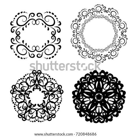 White Black Vintage Frames Scroll Elements Stock Vector (Royalty ...