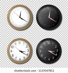 White and black wall office clock icon set. showing five minutes to twelve. For new year concept. Illustrated vector.