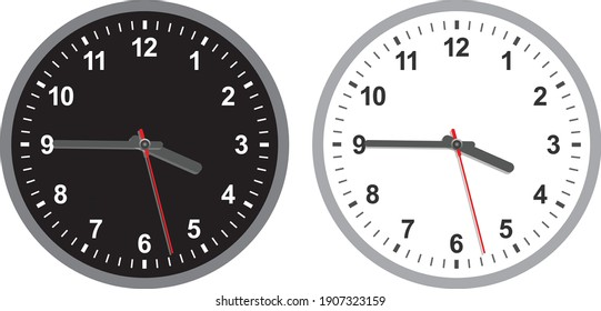 White and black wall office clock icon set. Design template closeup in vector. Mock-up for branding and advertise isolated