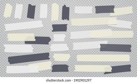 White, black, yellow different size adhesive, sticky, masking, duct tape, paper pieces are on grey transparent, squared background