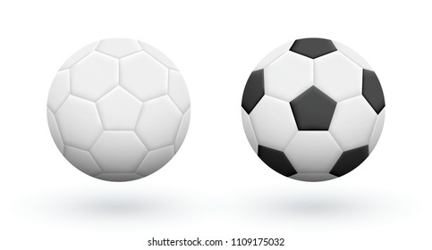 White and Black-White soccer balls isolated on white. Association football balls. Soccer equipment.