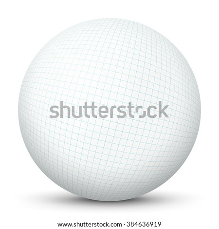 White Blank 3D Vector Sphere With Mapped Squared Paper Texture
