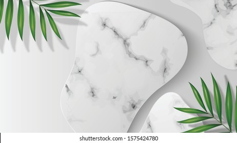 White Blank abstract shape marble template in white background on top view. decor by palm leaves. for product, sale, banner, presentation, cosmetic, offer. copy space. Realistic illustration Vector