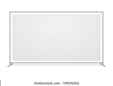White blank advertising press wall with fabric banner vector template. Blank canvas banner for advertising and exhibition illustration - Shutterstock ID 749296501