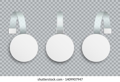 White blank advertising wobblers isolated on transparent background. Round wobbler paper sale discount tags. Mock up template for your design. Concept for promotion sales, supermarket price tag.