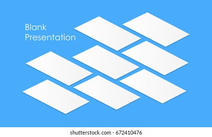 White blank app screens mockup perspective. Isometric web wireframing pages template to display any of your mobile designs. Vector illustration