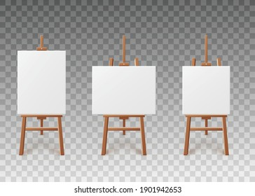 White blank artboards or canvas of various shapes standing on wooden easels, realistic vector illustration isolated on transparent background. Templates set of artboards.