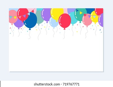 White Blank Background with Flags, Balloons and confetti