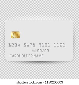 White blank bank card template top view with shadow isolated on transparent background. Vector Illustration EPS10