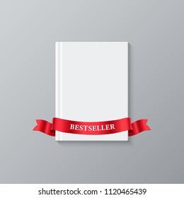 White blank book cover and red ribbon with Bestseller word. Bestseller book vector template.