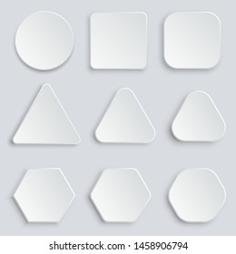 White blank buttons vector design illustration isolated on grey background
