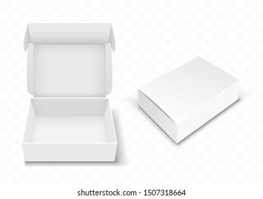 White blank cardboard box with flip top, realistic vector illustration. Rectangular caton pack with open and closed hinged lid, isolated on transparent background. Empty gift package