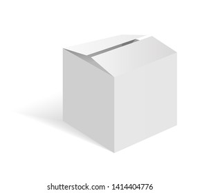 White blank cardboard package box. Vector template. Cardboard box mockup, package and container illustration.