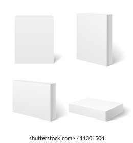 White blank cardboard package box in different positions. Vector template. Cardboard boxes templates, package and container illustration
