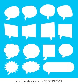 white blank cartoon speech bubbles with different shape set on blue background. vector illustration