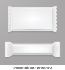 White blank chocolate bar mockup. White polyethylene package. Candy bar Plastic wrap. Front side view. Element for your design presentation. Vector mock-up. Eps 10.
