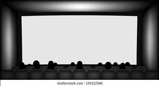 White blank cinema screen and people silhouettes on seats in dark gray auditorium.