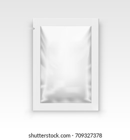 White Blank Clear Sachet For Food, Medical Or Cosmetics. EPS10 Vector