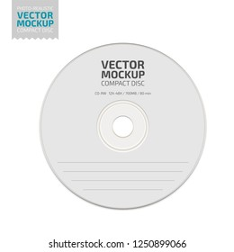 White blank compact disc. Photo-realistic stationery mockup template with sample design. Vector 3d illustration.