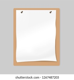 White blank crumpled paper sheet attached by push pins to bulletin board, mockup.