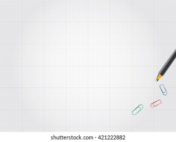 White blank drawing paper, pencils and paper clips