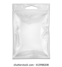 White Blank Filled Retort Foil Pouch Bag Packaging With Zipper, Hang Slot. Medicine Drugs Or Food Product. Illustration Isolated On White Background. Mock Up Template Ready For Your Design. Vector