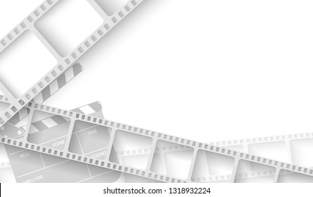 White blank with film strip frame and clapper-board isolated on white background. Design template cinema with space for your text. Vector cinema background , brochure, tickets, flyer, leaflet. EPS 10