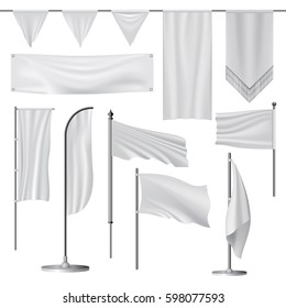 White blank flag mockup set isolated. Realistic illustration of 11 white blank flag mockups for web