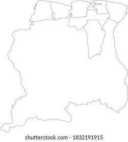 White Blank Flat Districts Map of the South American Country of Suriname