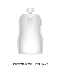 White Blank Flexible Pouch With Cap For Food Or Drink Bag Packaging, Baby Puree for your design