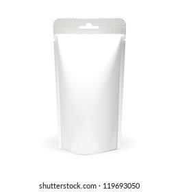 White Blank Foil Food Or Drink Bag Packaging With Hang Slot. Plastic Pack Template Ready For Your Design. Vector EPS10