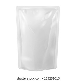 White Blank Foil Food Or Drink Bag Packaging. Illustration Isolated On White Background. Mock Up, Mockup Template Ready For Your Design. Vector EPS10