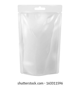White Blank Foil Food Or Drink Bag Packaging With Hang Slot Blister. Illustration Isolated On White Background. Mock Up, Mockup Template Ready For Your Design. Vector EPS10