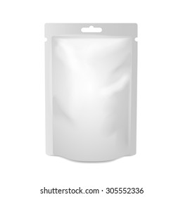 White blank foil food or drink bag packaging with hang slot blister. Plastic pack template ready for your design.  Vector
