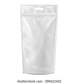 White Blank Foil Food Or Drink Doypack Bag Packaging With Hang Slot. Illustration Isolated On White Background. Mock Up Template Ready For Your Design. Vector EPS10