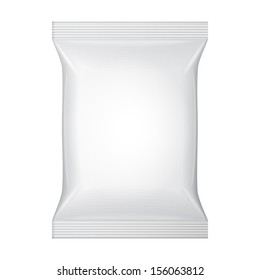 White Blank Foil Food Snack Sachet Bag Packaging For Coffee, Salt, Sugar, Pepper, Spices, Sachet, Sweets, Chips, Cookies Or Candy. Plastic Pack Template Ready For Your Design. Vector EPS10