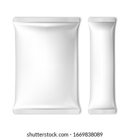 White Blank Foil Packaging For Food Or Other. EPS10 Vector