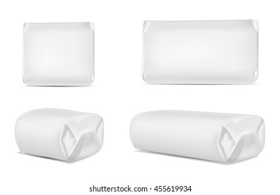 White blank foil or paper packaging isolated on white background. Sachet for soap, coffee, spices, sweets, cookies and flour.