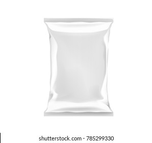 White blank foil plastic bag packaging isolated. Mock-up design template for branding for chips, snack, cookies, peanuts.