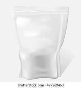 White Blank Food Bag Package. Vector Illustration pouch packaging Isolated. Foil Food pack.
