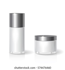 White blank glass cosmetics jar with black lid for cream, butter, skin care. Realistic bottle design packaging template. Vector illustration