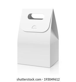 White blank hand cake, bread packaging paper bag. Vector.