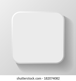 White Blank Icon Template for Web and Mobile Button with Shadow Vector