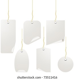 White blank label set isolated on white. Vector